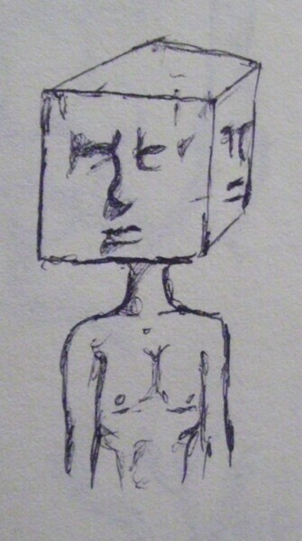 expressionistic ink sketch by schizophrenic artist kyle reynolds