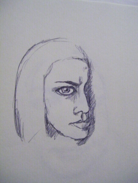 moody ink sketch of a woman
