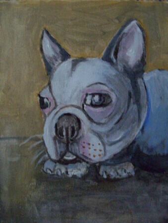 BOSTON TERRIER 8X10 INCH ORIGINAL ACRYLIC PET PORTRAIT 2008
