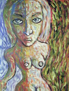 Fully clothed Nude 16x20 inches original expressive artwork kyle reynolds 2010