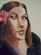 JANELL 8X10 INCH ORIGINAL CONTEMPORARY PORTRAIT ACRYLIC 2010