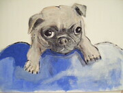 NEW BORN PUG 8X6 INCH ORIGINAL ACRYLIC PET PORTRAIT 2010