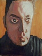SELF PORTRAIT 11X14 INCH ORIGINAL EXPRESSIVE ACRYLIC ARTWORK 2007
