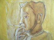 SELF PORTRAIT (SMOKING) 11X14 INCHES ACRYLIC ON GALLERY WRAP CANVAS