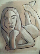 Untitled Nude 11x14 inch acrylic expressive nude