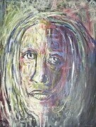 WEEPING WOMAN 16X20 INCH ORIGINAL EXPRESSIVE ACRYLIC ARTWORK 2010